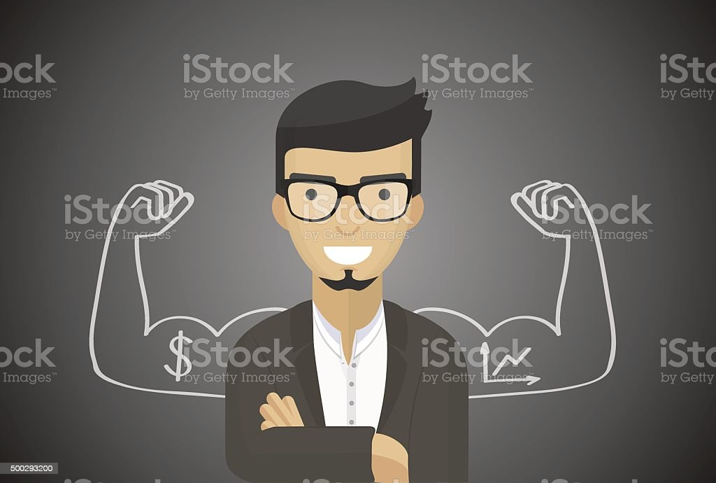 Successful businessman, financial officer, manager, flat design, vector art vector art illustration