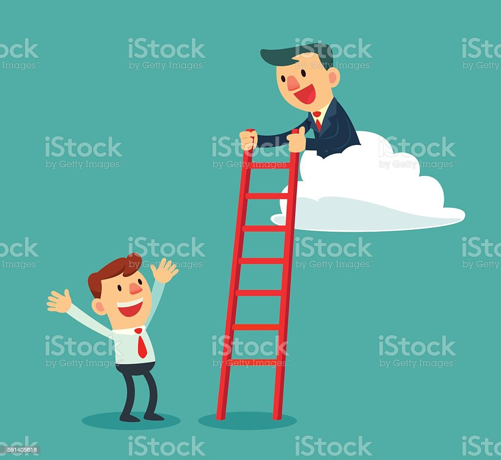 successful businessman on cloud holding ladder for another vector art illustration