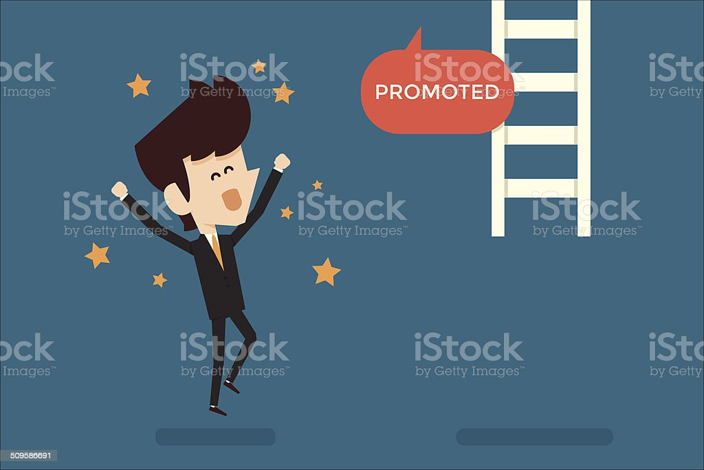 Successful businessman promoted vector art illustration