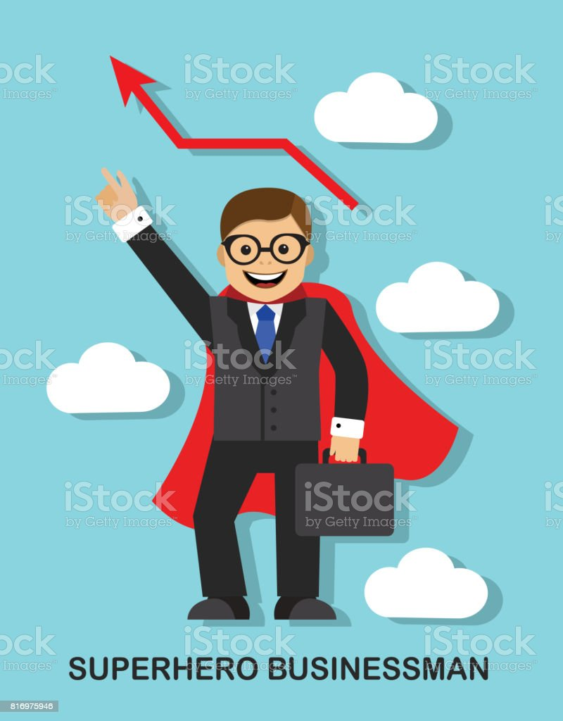 Successful businessman superhero vector art illustration