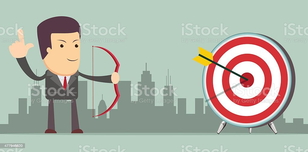 Successful businessman with arrow in the target vector art illustration