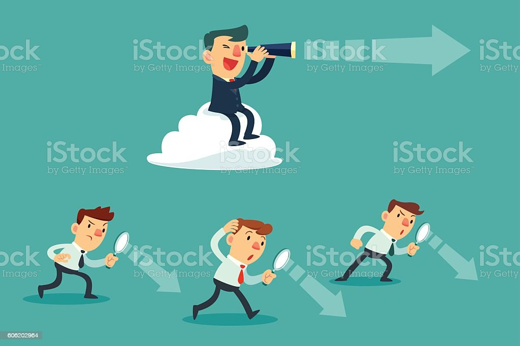 successful businessman with telescope sit on cloud above others vector art illustration