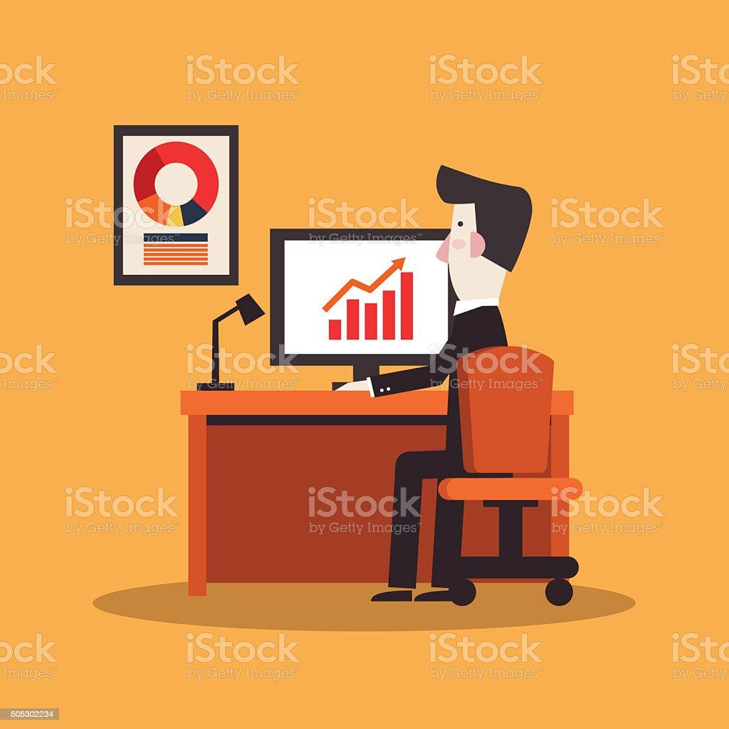 Successful businessman working in office at computer vector art illustration