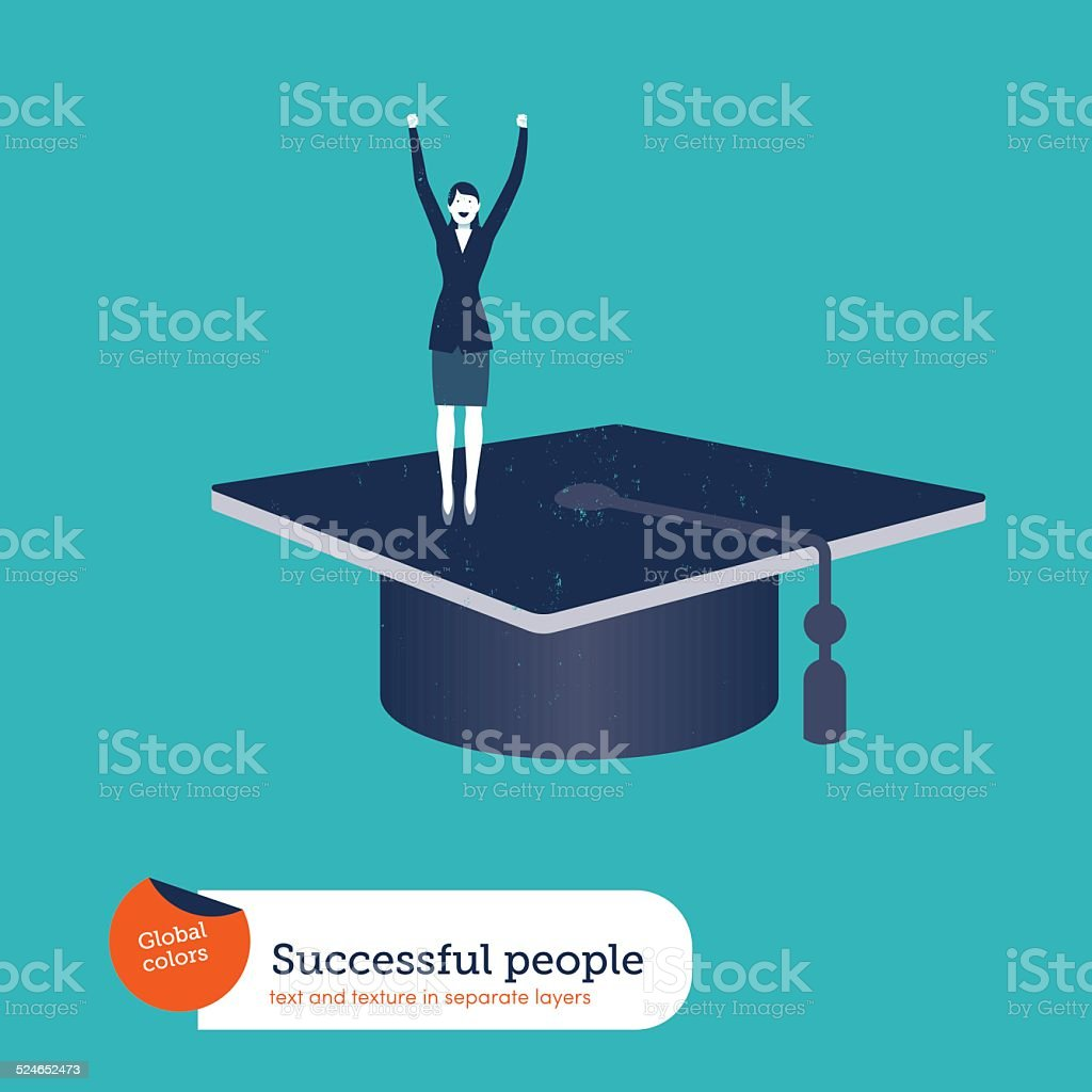 Successful businesswoman on a mortarboard vector art illustration