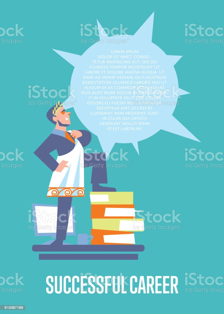 Successful career banner with businessman vector art illustration