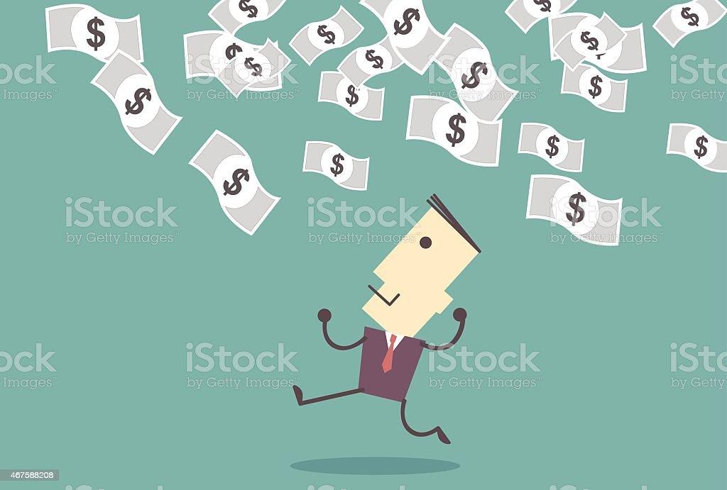successful entrepreneur. money rain. successful businessman. Money from the sky. vector illustration vector art illustration