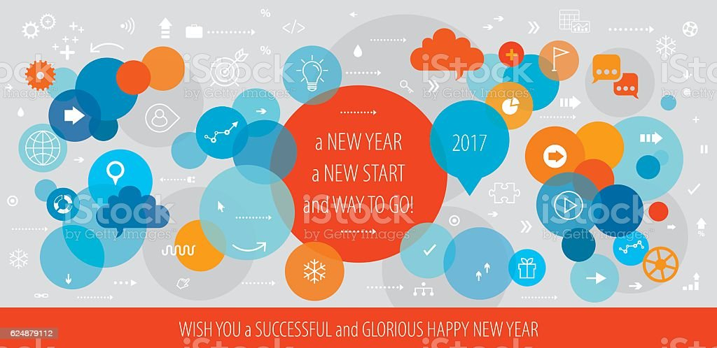 Successful New Year Business Greeting vector art illustration