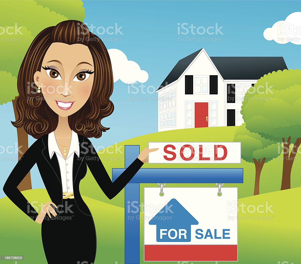 Successful realtor with sold sign royalty-free stock vector art
