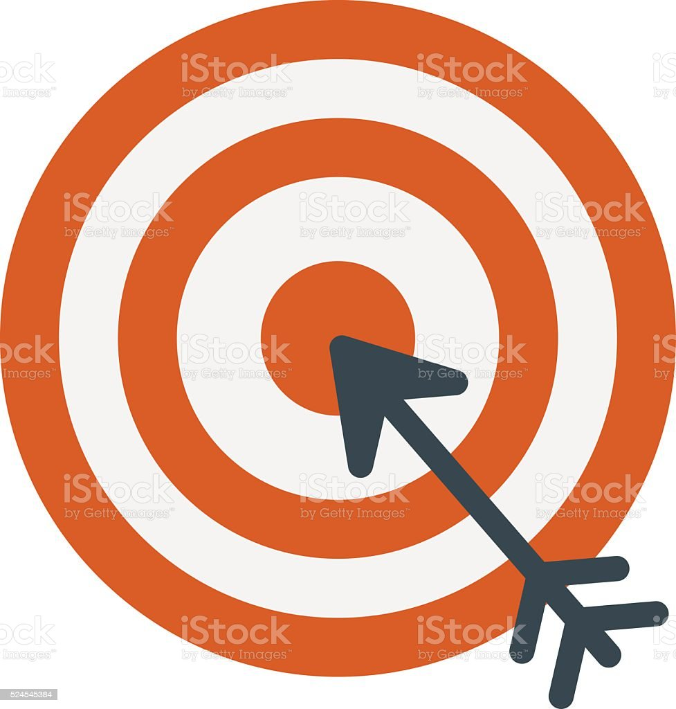 Successful shoot goal icon darts target aim on white background vector art illustration