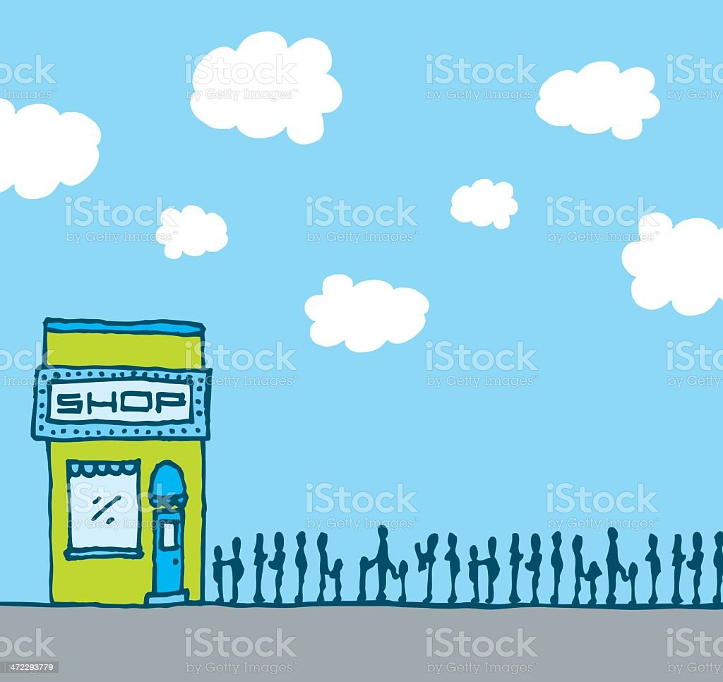 Successful shop with long queue royalty-free stock vector art