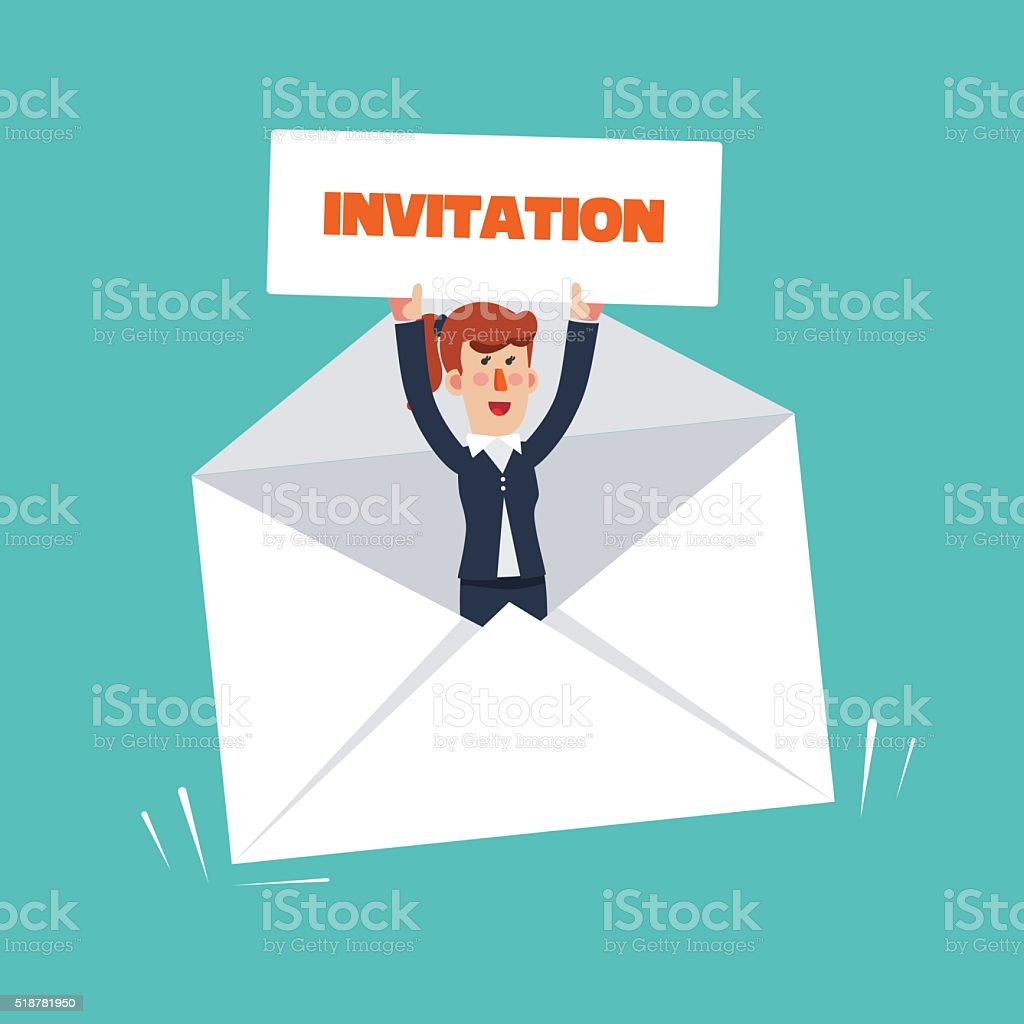 Successful, smiling business woman in a envelope with invitation card vector art illustration
