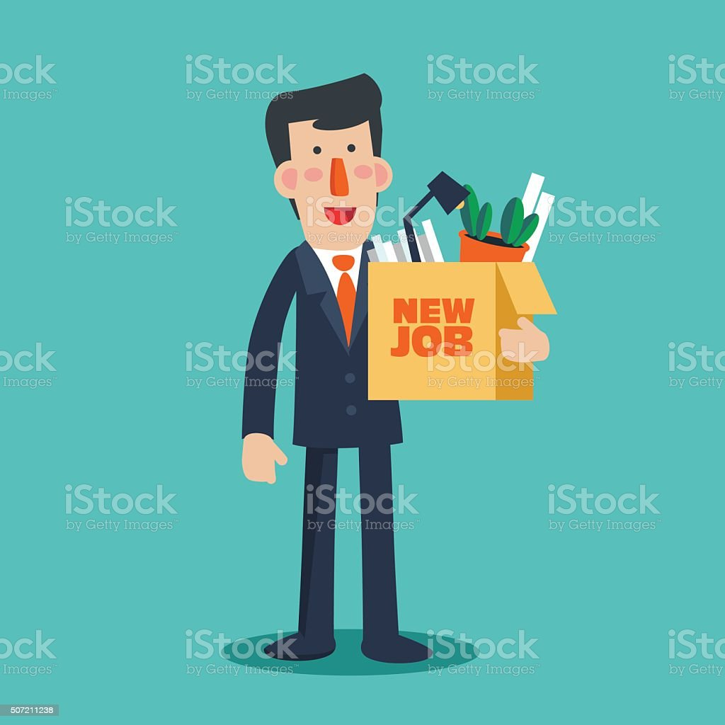 Successful smiling businessman holding a box with inscription ' New job' vector art illustration