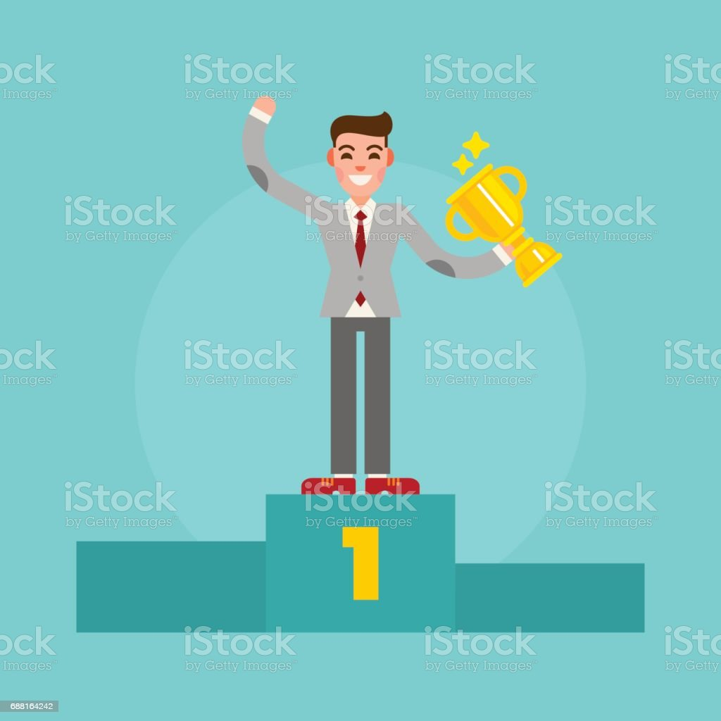 Successful winner businessman standing on the pedestal with a cup in the hand. Happy man in suit. Vector illustration. vector art illustration