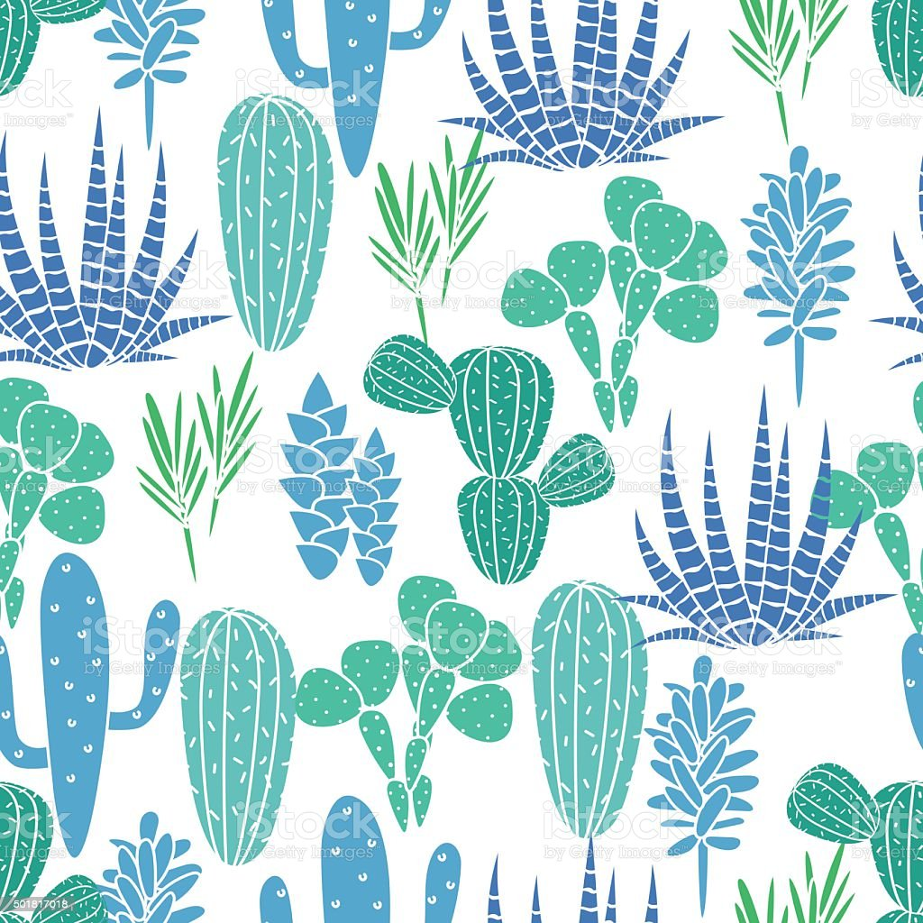 Succulents plant vector seamless pattern. Botanical blue and green cactus vector art illustration
