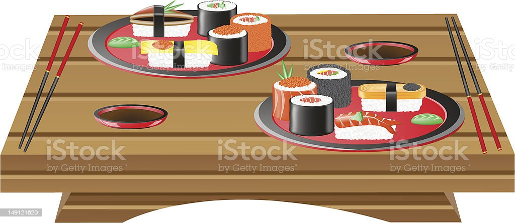 suchi served on wooden table vector illustration royalty-free stock vector art