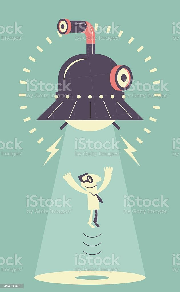 UFO sucking up a man vector art illustration