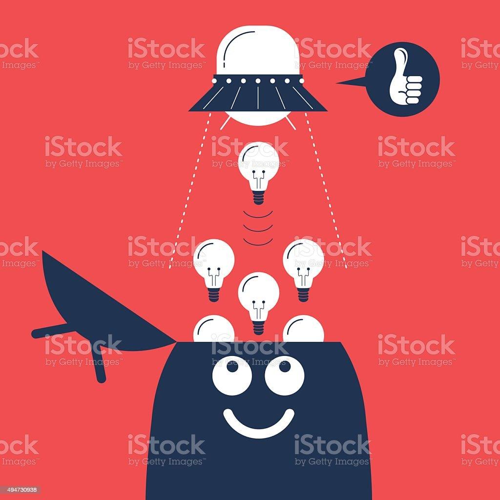UFO sucking up idea light bulb from man's opened head vector art illustration