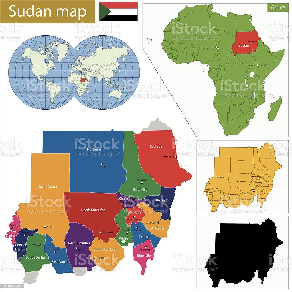 Sudan map vector art illustration