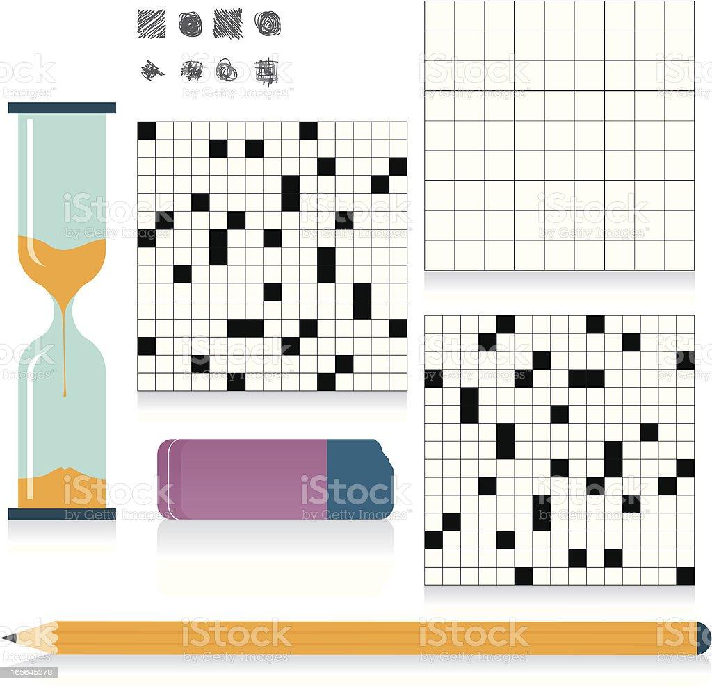Sudoku and crossword vector art illustration