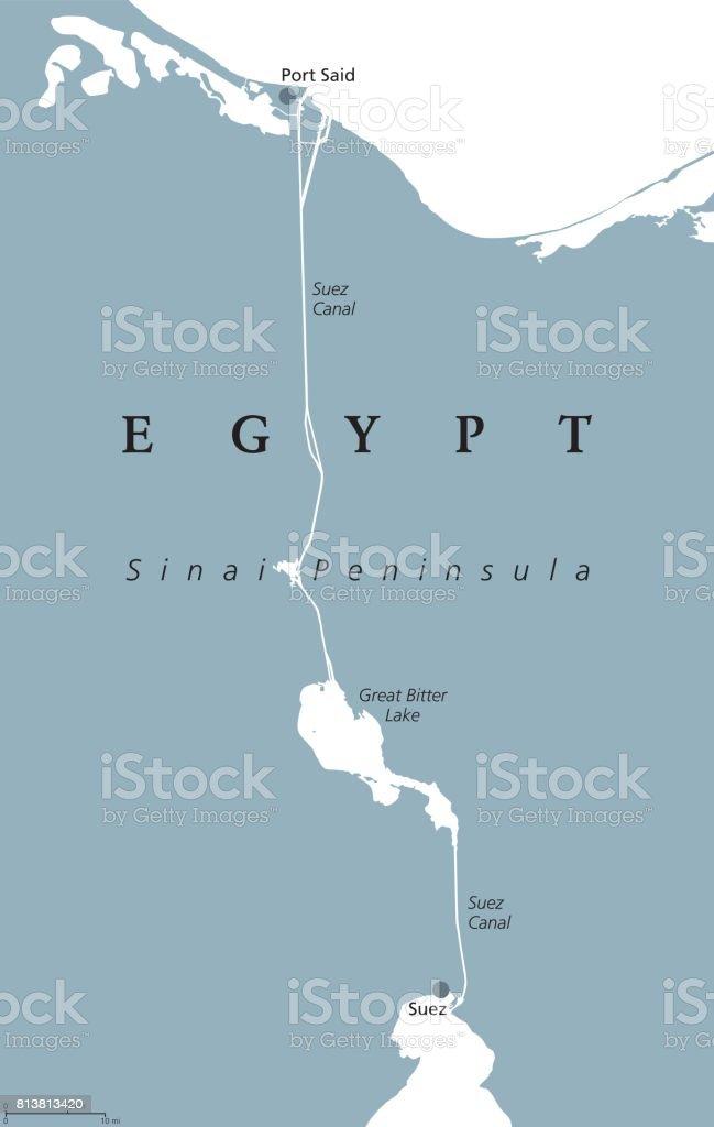 Suez Canal political map vector art illustration