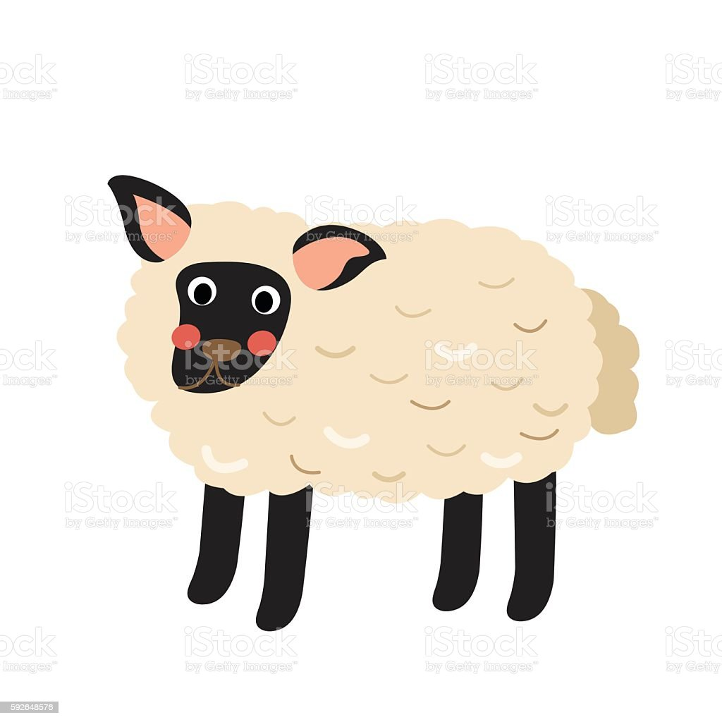Suffolk Sheep animal cartoon character vector illustration. vector art illustration