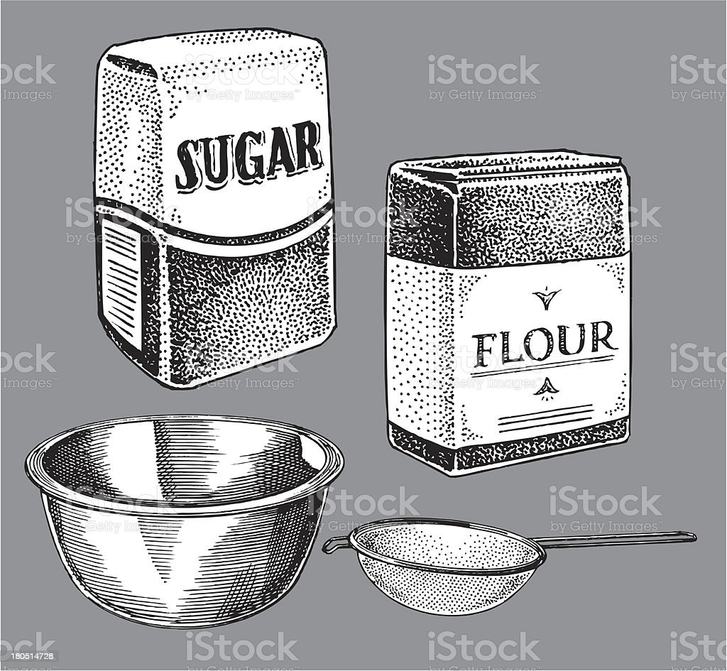 Sugar and Flour, Cooking Items - Bowl, Sifter vector art illustration