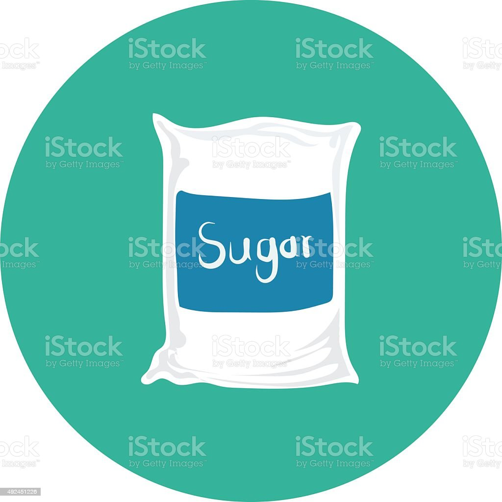 Sugar Bag Colored Vector Icon vector art illustration