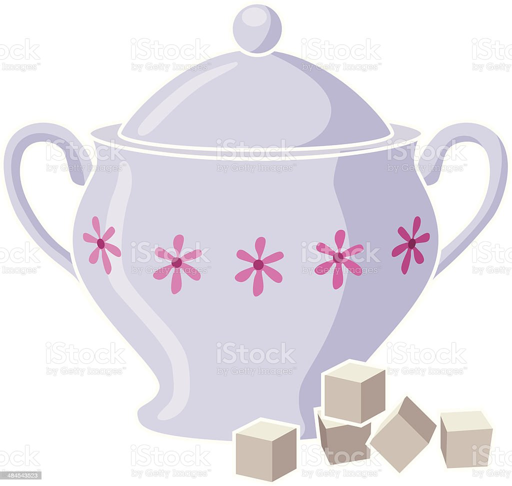 sugar bowl and cubes royalty-free stock vector art