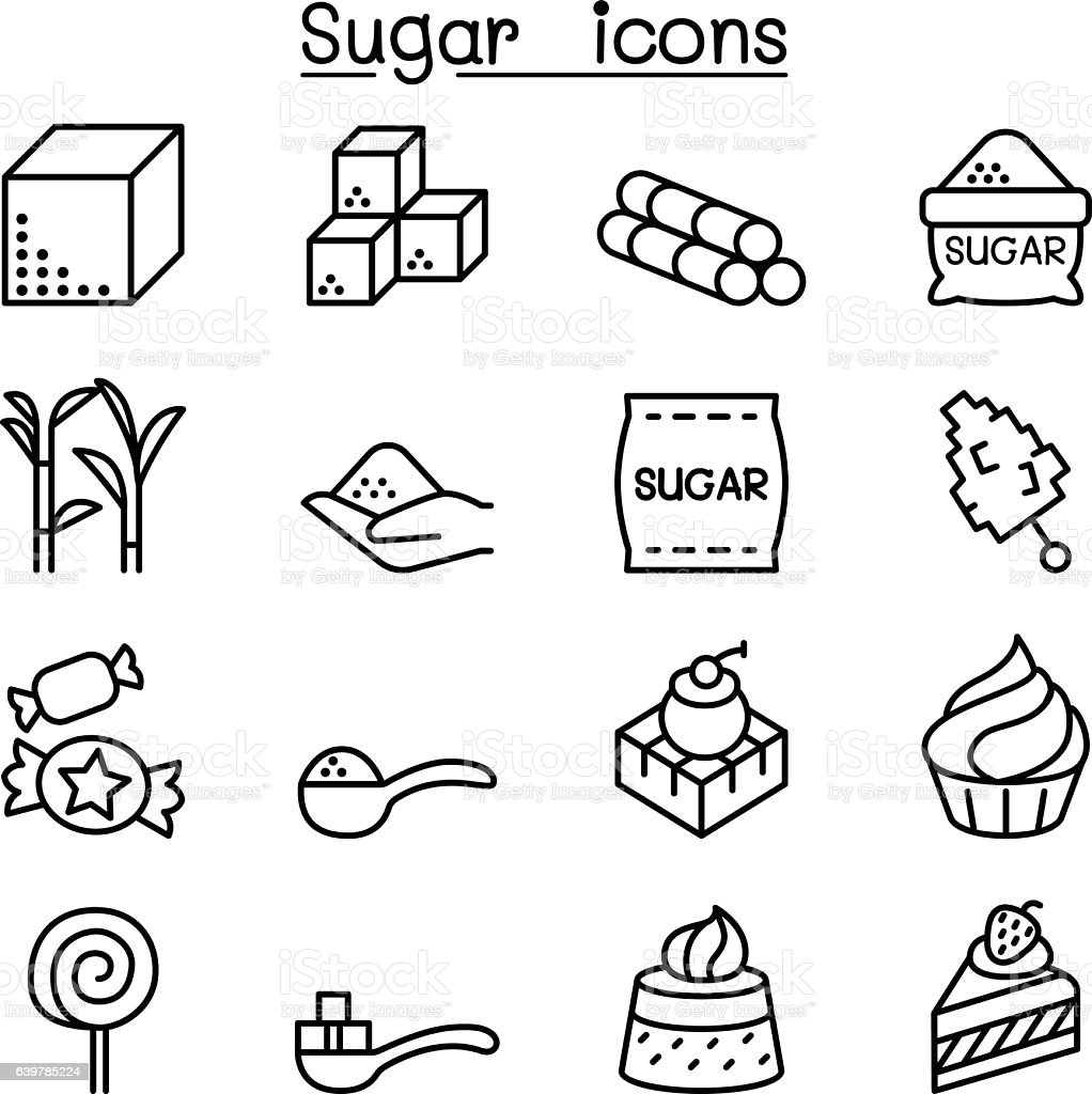 Sugar icon set in thin line style vector art illustration