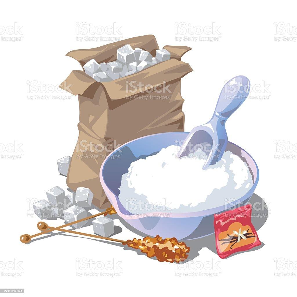 Sugar, refined, package, vanilla, cane sugar vector art illustration