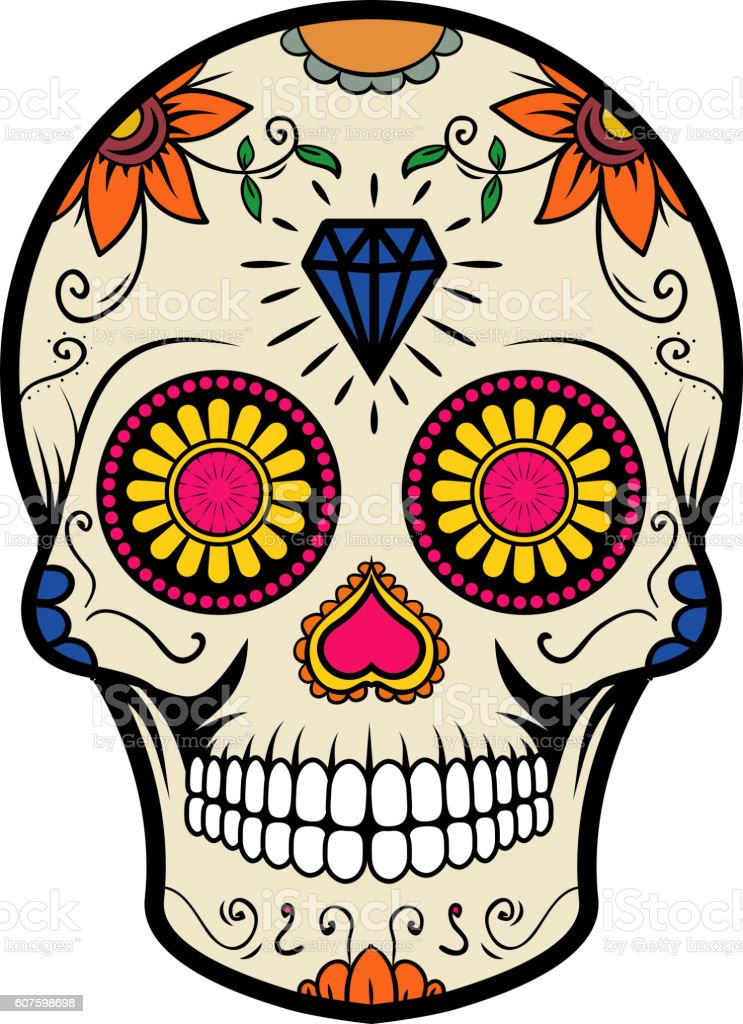 Sugar skull isolated on white background. Day of the dead. vector art illustration