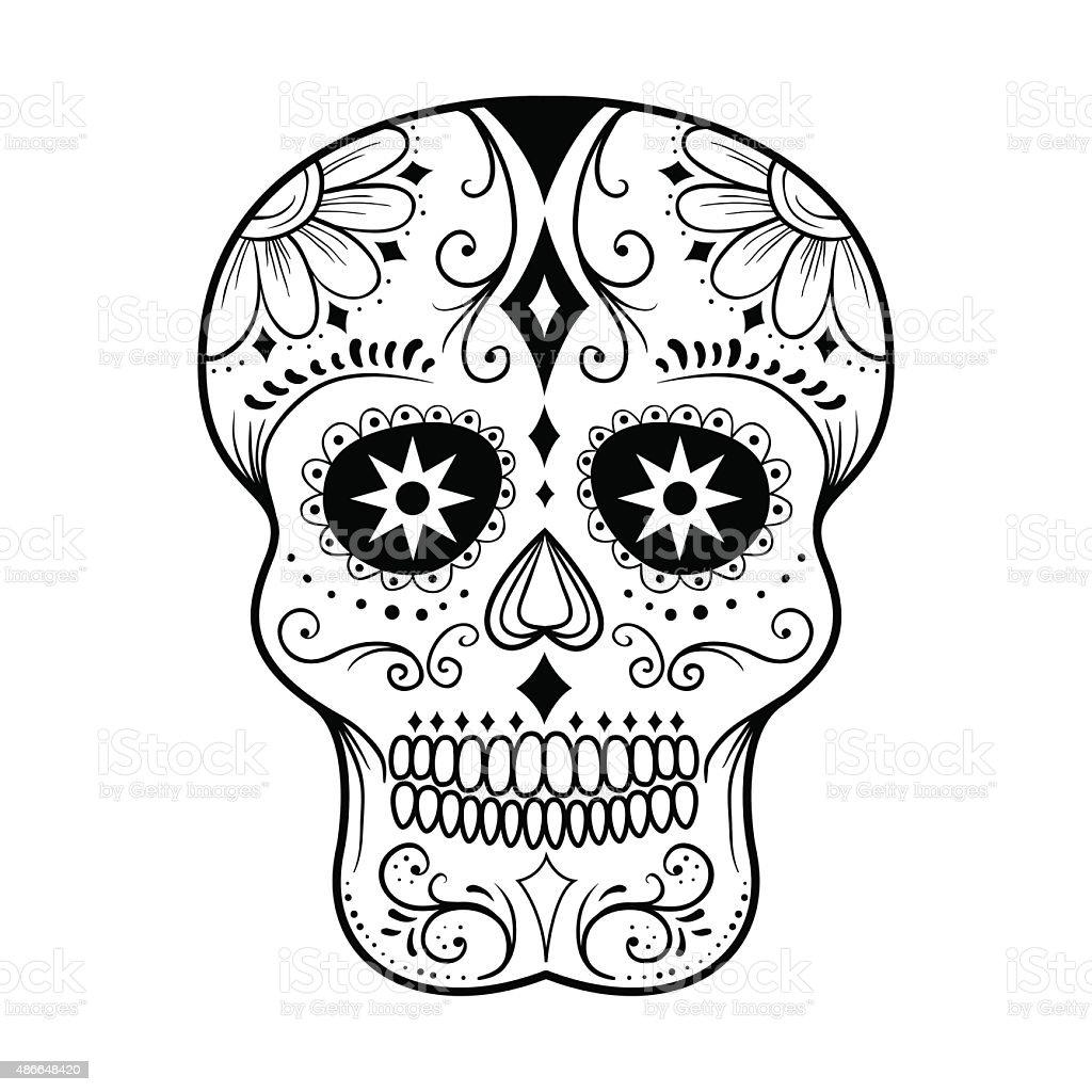 Sugar Skull Line Art vector art illustration