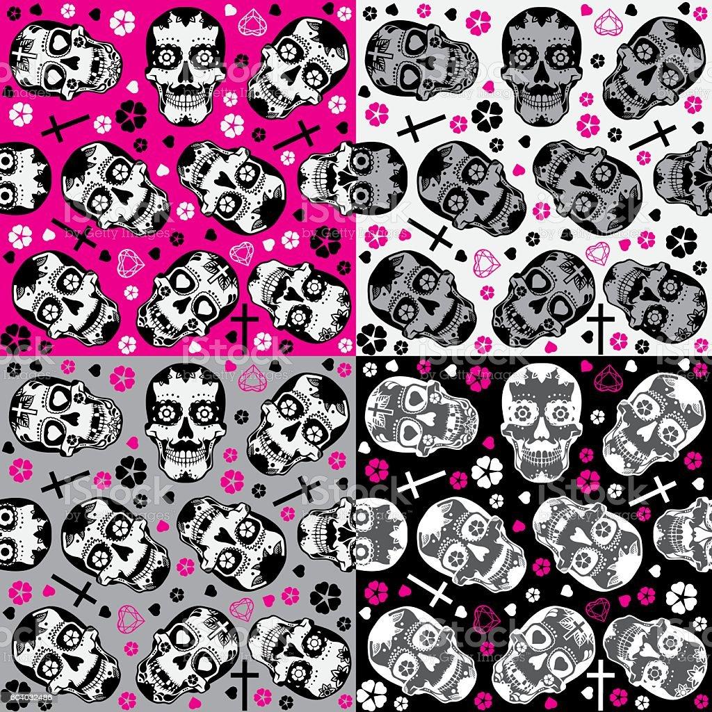 Sugar skulls Day of the Dead Seamless backgrounds set vector art illustration