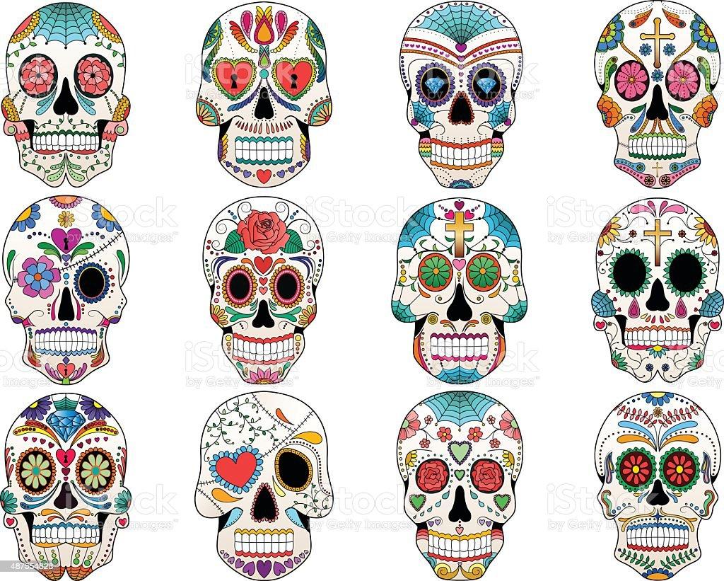 Sugar Skulls Day of the Dead Vector Set vector art illustration