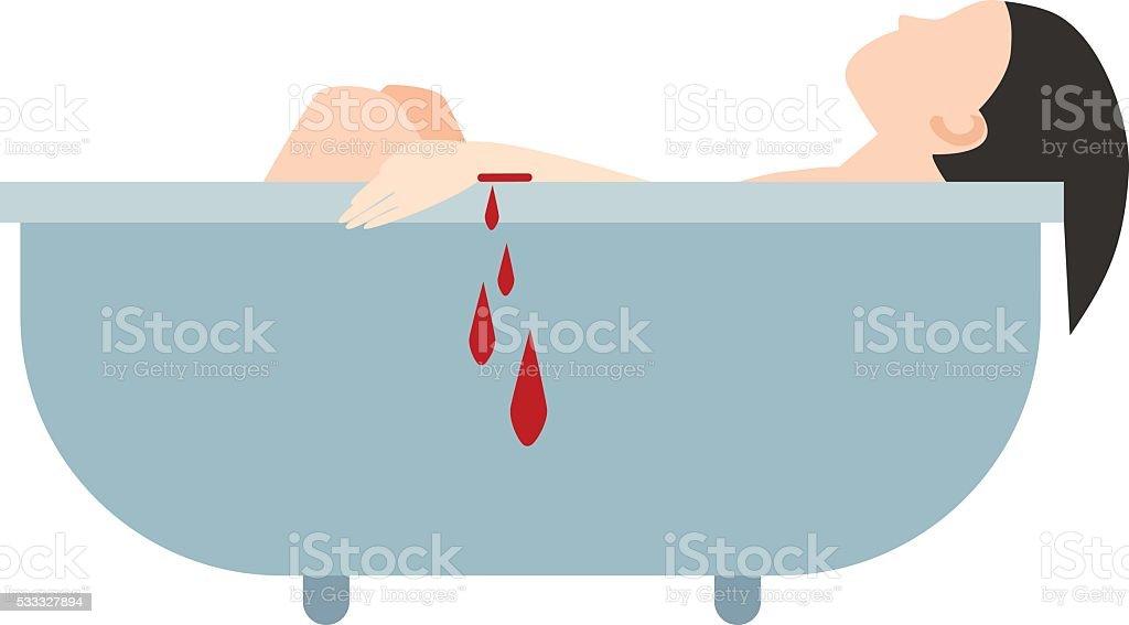 Suicide bath vector illustration vector art illustration