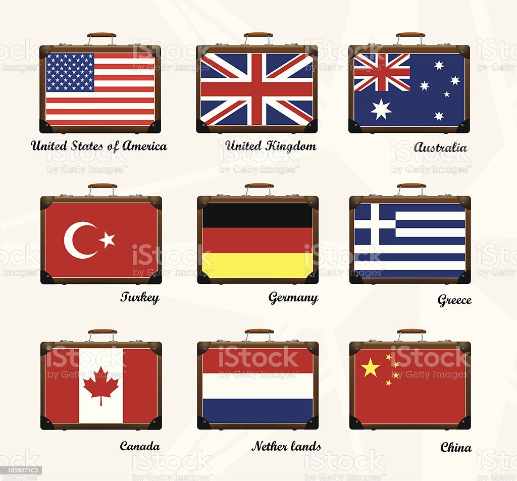 Suitcase. Flags of the world royalty-free stock vector art
