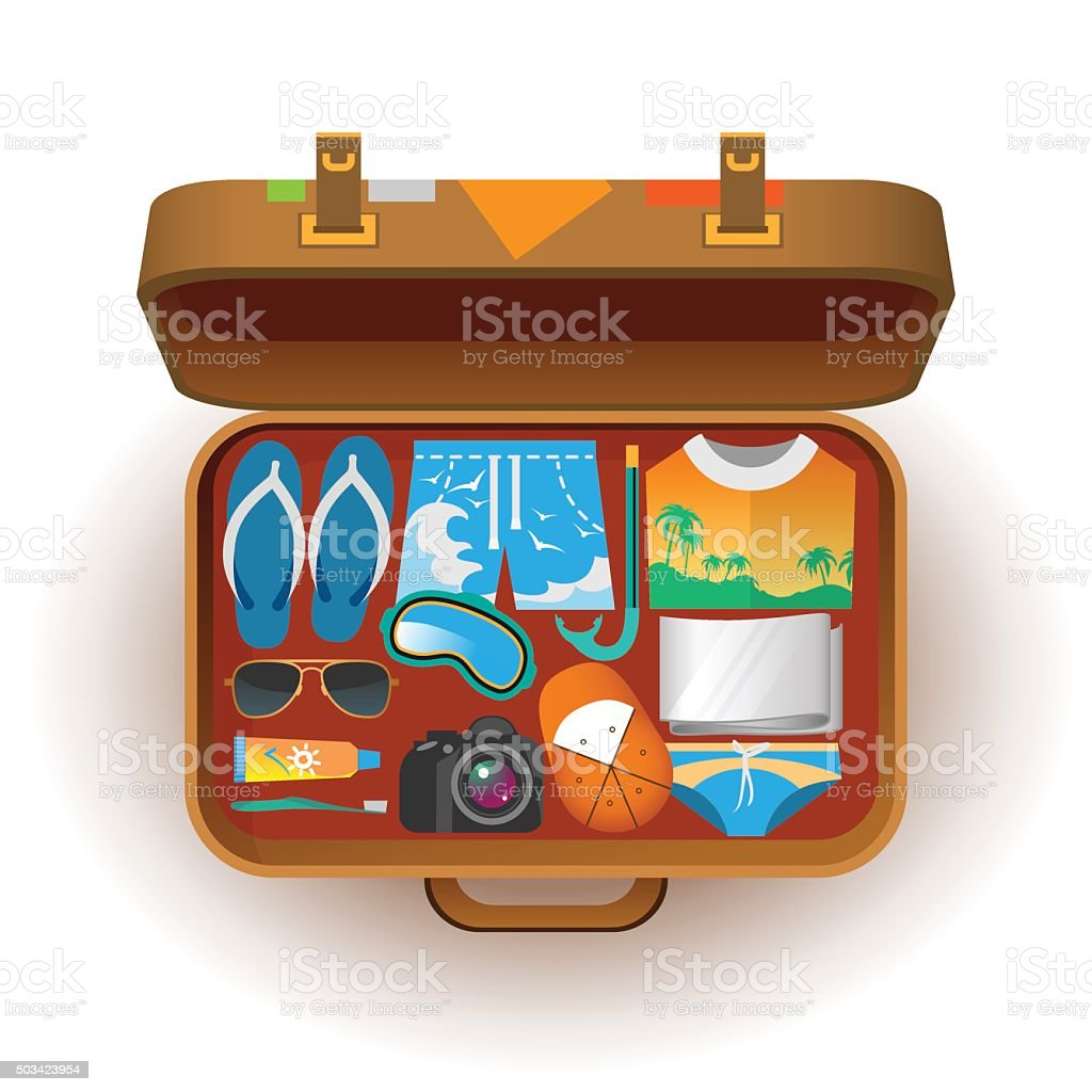 Suitcase for travel vector art illustration