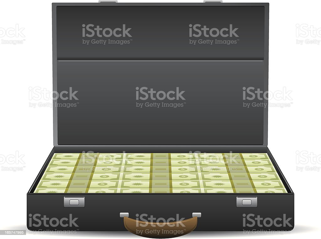 Suitcase Full of Cash vector art illustration
