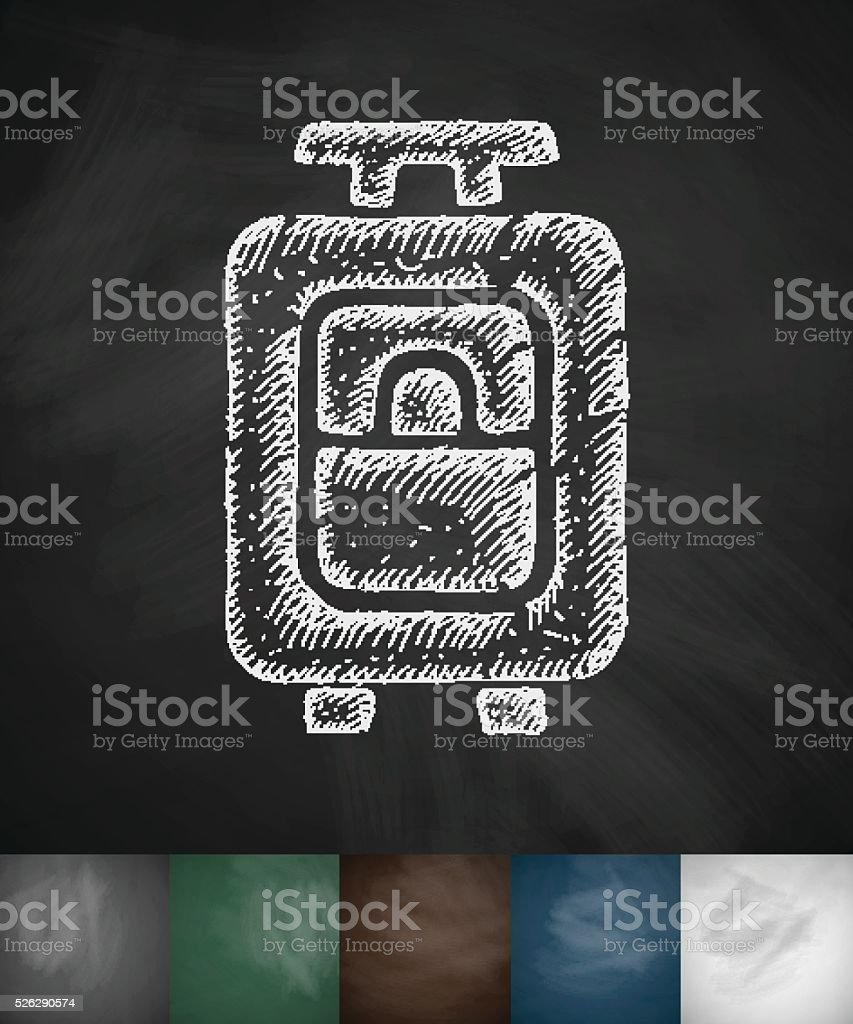 suitcase icon. Hand drawn vector illustration vector art illustration