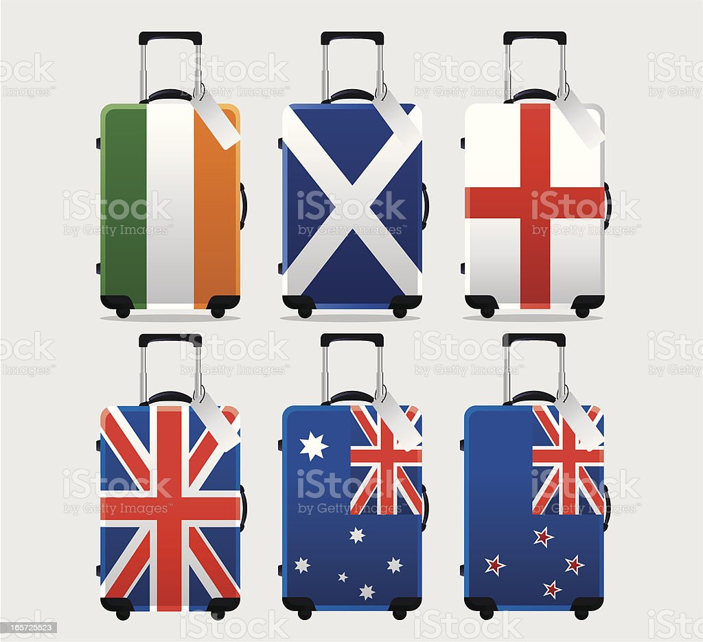 Suitcase National Flag Collection vector art illustration