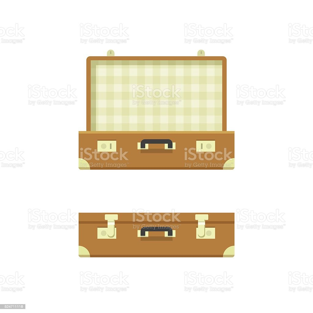 Suitcase open and closed vector illustration isolated on white background vector art illustration
