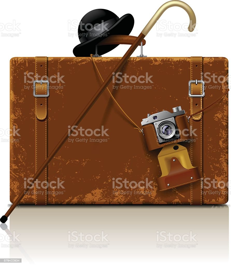 Suitcase with walking stick, bowler hat and retro photo camera vector art illustration