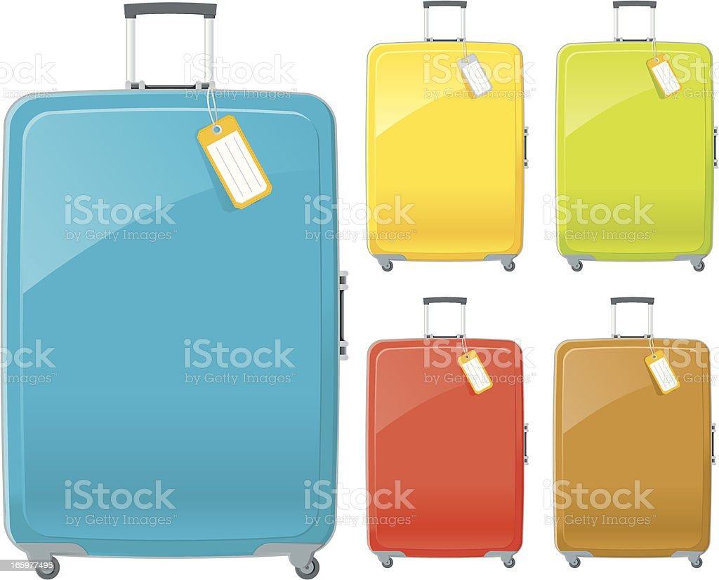 Suitcases in blue, yellow, green, red and brown with tags vector art illustration