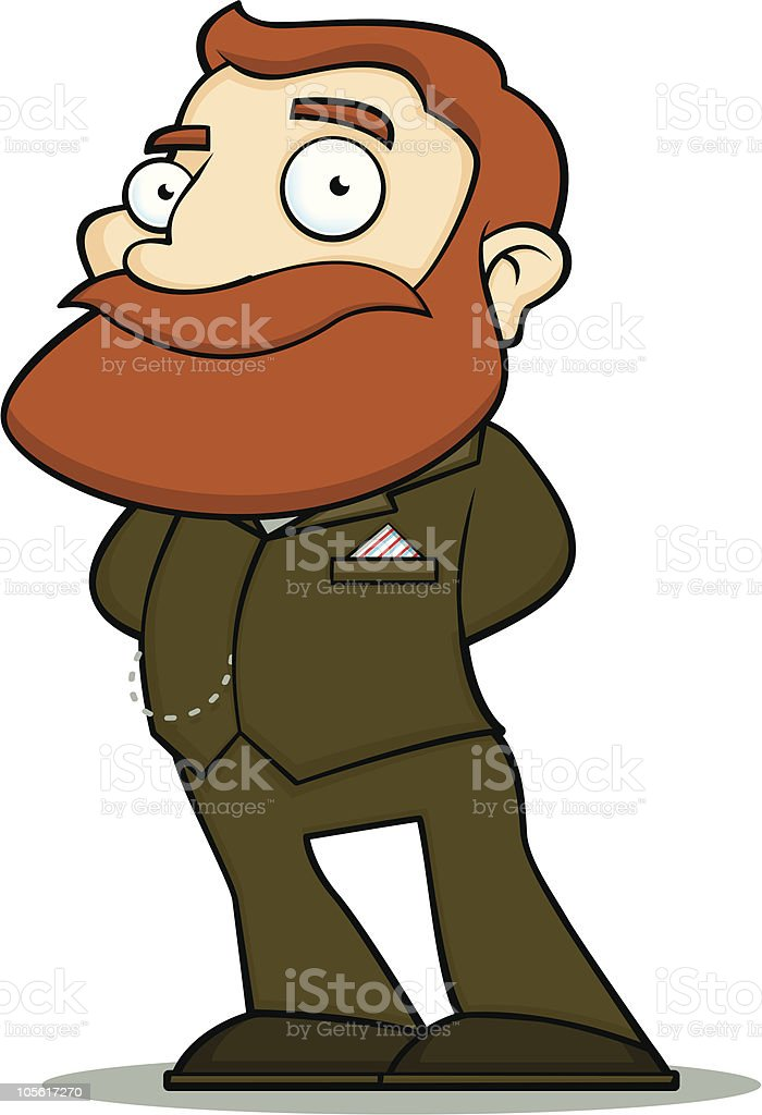 Suited Gentleman with Ginger Beard royalty-free stock vector art