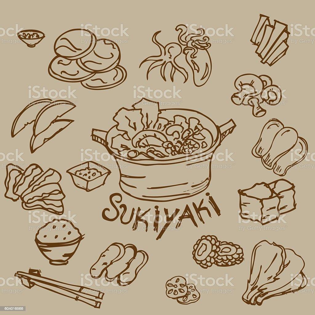 sukiyaki drawing vector art illustration