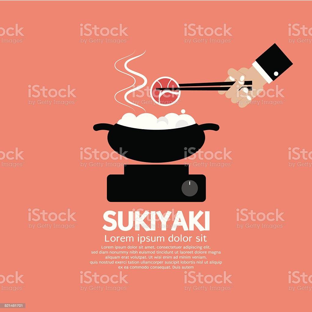 Sukiyaki Japanese Dish Vector Illustration vector art illustration