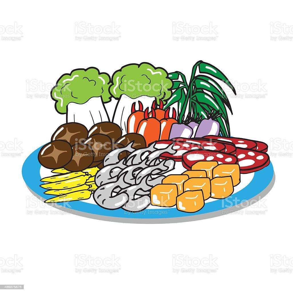Sukiyaki set of meat vegetable mushroom vector art illustration