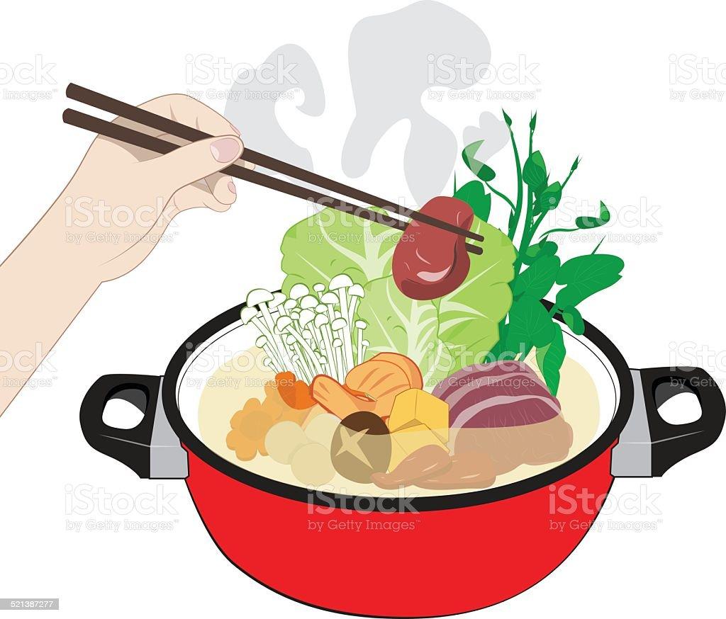 Sukiyaki vector art illustration