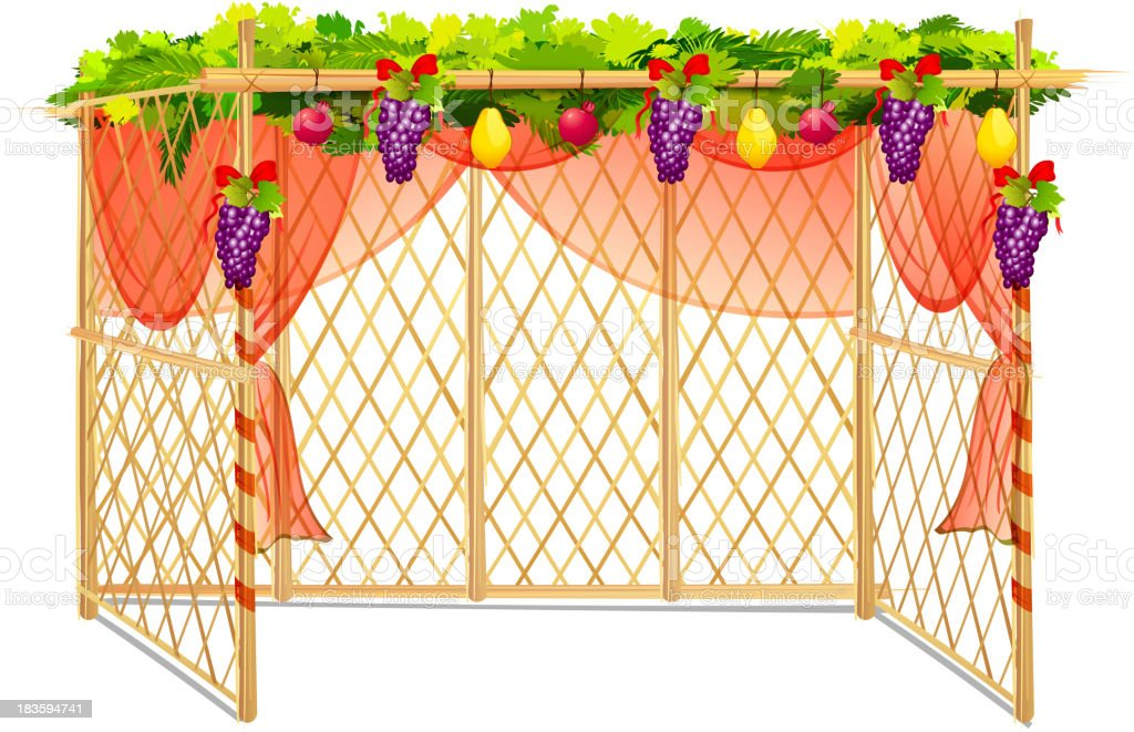 Sukkah for celebrating Sukkot royalty-free stock vector art