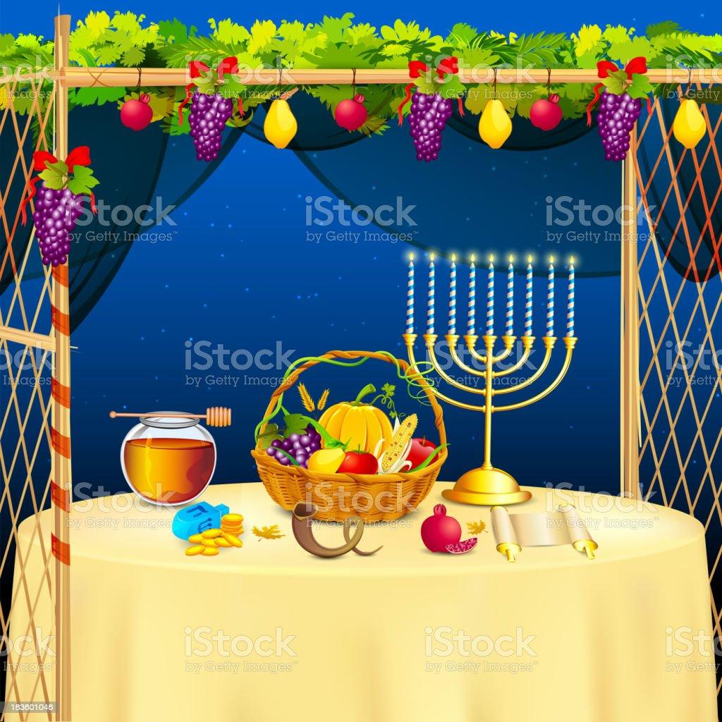 Sukkah for celebrating Sukkot vector art illustration